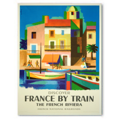 Vintage France by train ready to hang canvas print