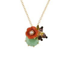Orange Flower and Light Green stone Necklace