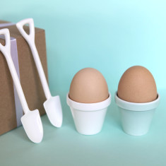 Eggpot & shovel eggcups (set of 2)