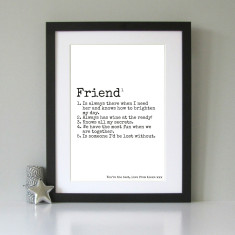 Personalised definition print for friends