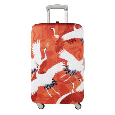 LOQI museum collection luggage cover in red and white cranes