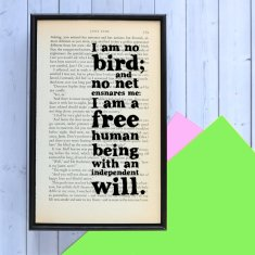 Inspirational Jane Eyre I am no bird Quote - book page print
