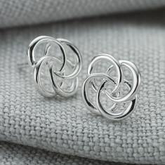 Ladies Sterling Silver Small Love Knot Stud Earrings
