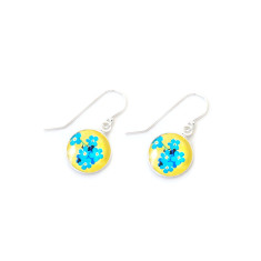 Czech glass and sterling silver buttercup earrings in gift tin