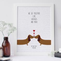 Personalised sausage dog love art print