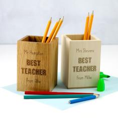 Personalised Best Teacher Pen Holder