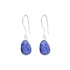 Pebble single stone drops with tanzanite in silver