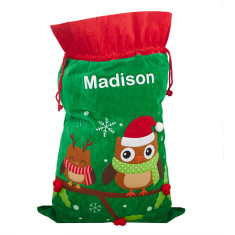Personalised Owl Friends Christmas Sack