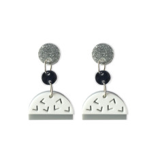 Confetti drop earrings in black, white, glitter