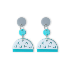 Confetti drop earrings in aqua, white, glitter