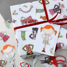 Christmas Paper Doll Wrapping Paper Set