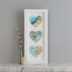 Three map heart personalised wedding print