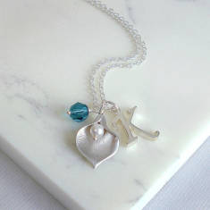 Calla Lily Script Initial Necklace
