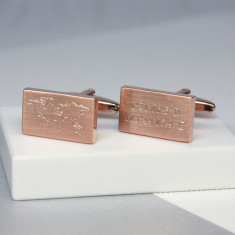 Engraved World Map and Coordinates Cufflinks