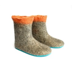 Women's Handmade Eco Wool Booties In Peach