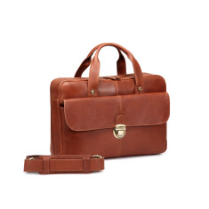 TheCultured Press Lock Leather Laptop Bag In Tan