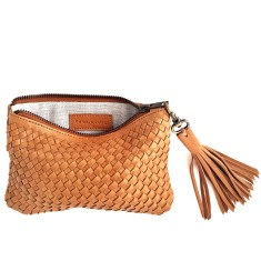 Vayana woven leather satchel with tassel