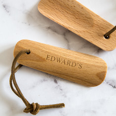 Personalised Wood and Leather Shoe Horn