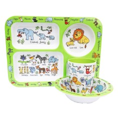 Tyrrell Katz Jungle Animals Melamine Compartment Set (Tray, Bowl and Cup)