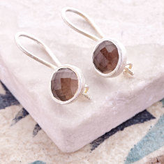 Cupcake Smaller Drop Earrings In Silver With Smoky Quartz