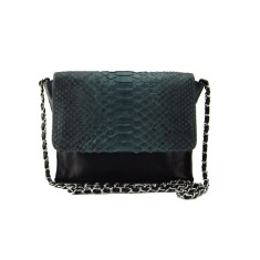 Grey motif python and black lambskin leather crossbody sling bag