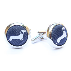 Dachshund cufflinks in navy