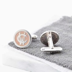 Silver And Rose Gold Entwined Monogram Cufflinks