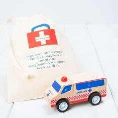 Personalised Wooden Ambulance Toy Vehicle