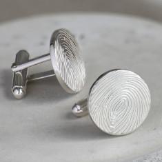 Silver Fingerprint Disc Cufflinks