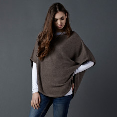 Reversible cotton cashmere poncho in iced coffee & Brazil nut