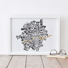 London postcodes map print