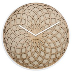 Dream Time Sun wall clock 35cm - beige wood & fabric
