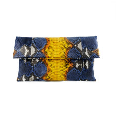 Denim and canary motif python leather classic foldover clutch bag