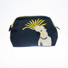 nooki design - beaded black cockatoo washbag