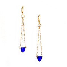 Delicate cobalt blue Czech glass gold chain earrings