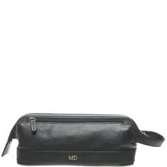 Monogrammed Leather Wash Bag - Black w/ Gold Emboss