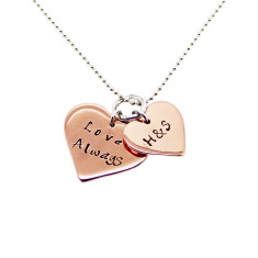 Personalised double love heart necklace in rose gold or white gold