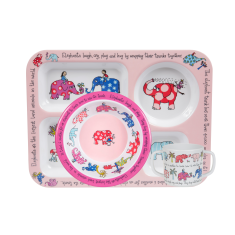 Tyrrell Katz Elephants Compartment Tray Set (Tray, Bowl and Training Cup)