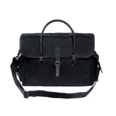 Personalised black leather weekend bag