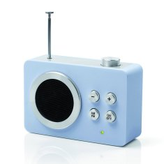 Lexon mini Dolmen radio in blue grey