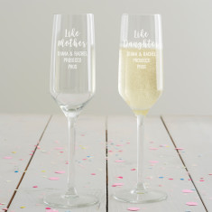 Personalised Like Mother, Like Daughter Champagne Flute Set