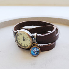 Blue tree design antique brown leather wrap bracelet watch