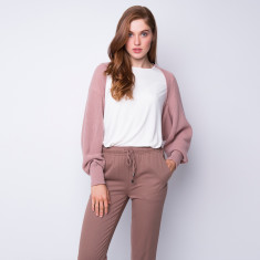 Rib knit all season cashmere shrug in dusty rose