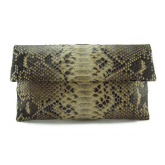 Beige motif python leather classic foldover clutch