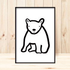 Baby bear children's art print (more colours)