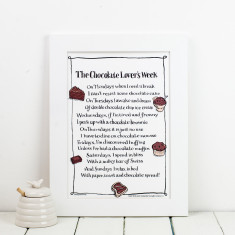 Chocolate lover's week personalised poem print