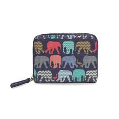 Navy Blue Elephant Mini Vegan Leather Purse Wallet