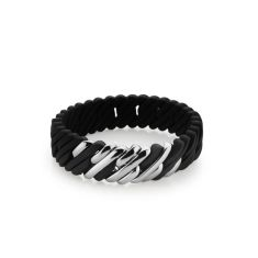 Mini woven pixel bracelet in black and silver