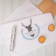 Personalised Winter Stag Tea Towel