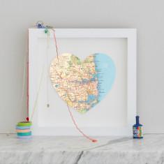 Sydney map heart print